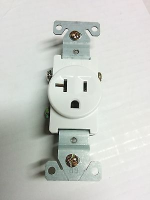 (1 pc) Single Receptacle 20 Amp 20A 125V AC Outlet 2 Pole 3 Wire White