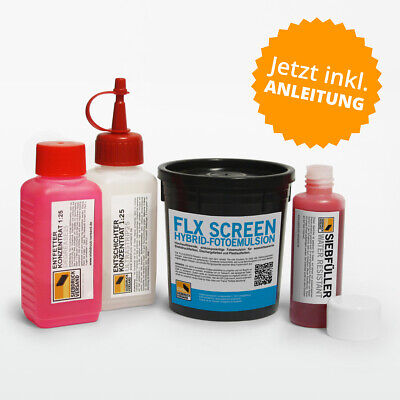 Chemistry Set for Screen Printing - Emulsion+Degreaser+Entschichter+Screen