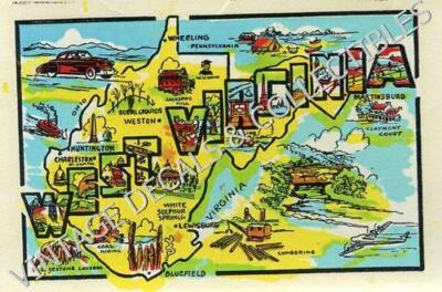 Vintage West Virginia State Souvenir Graphic Map Travel Decal Waterslide Sticker