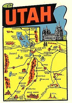 Vintage Utah State Map Lindgren Turner Souvenir Auto Travel Water Decal Sticker