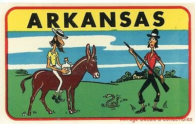 Vintage Arkansas State Novelty Hillbilly Comic Souvenir Travel Decal Rex-O-Decal