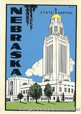 Vintage Nebraska State Capitol Souvenir Auto Travel Decal Water Lindgren Turner