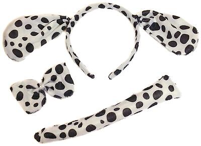 Dalmation Dalmatian Ears Tail and Bow Tie Set Fancy Dress Costume Hen Party
