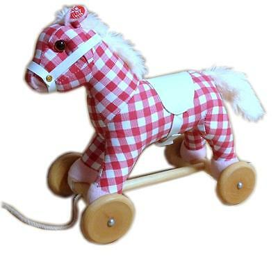 NEW Childrens Wood & Plush Pull Along Pony Horse - w/ Sound - Cherry Ripe Check