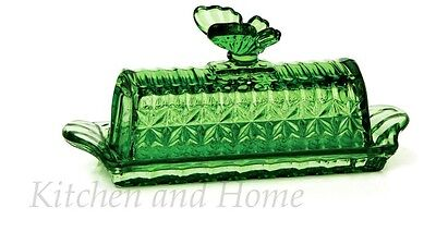 GLASS BUTTER DISH Butterfly Knob Green Diamond Cut Flare Handles NEW Gift Boxed