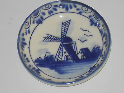 Delft Holland Blue and White hand painted ceramic Dish Windmill pattern     /1
