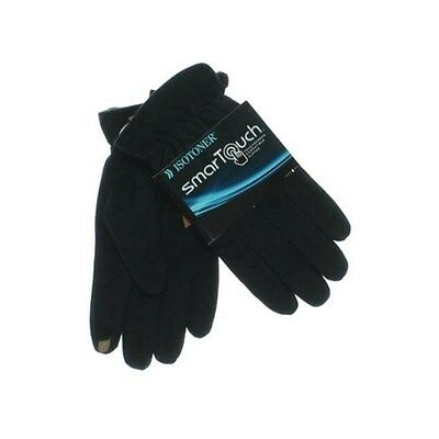 Isotoner SmarTouch Black Brushed Microfiber UltraPlush Lined Winter Gloves NEW