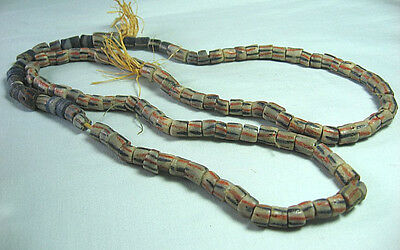 "Vintage African Glass Trade Beads stripes  32""     lot 14k8"