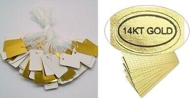 """100 PVC GOLD JEWELRY Price TAGS 1""""x 1/2""""  w/ String + 100 """"14KT Gold"""" Labels 14k"""