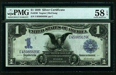 U.S. 1899  $1 SILVER CERTIFICATE BANKNOTE FR#230, ABOUT UNCIRCULATED, PMG-58-EPQ