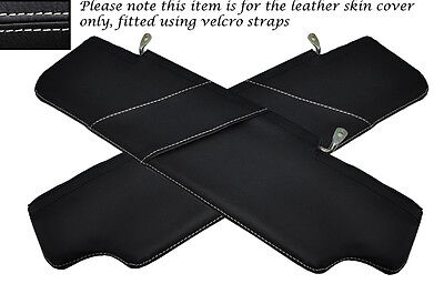 White Stitch 2X Sun Visors Leather Covers Fits Land Rover Defender 2007-2014