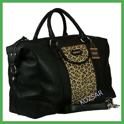 KOZSAR genuine leather with leopard print duffel travel bag / Carry bag - Scarf
