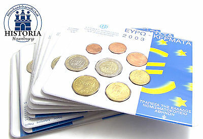 10 x Griechenland 3,88 Euro 2003 Stgl. KMS 1 Cent bis 2 Euro im Blister