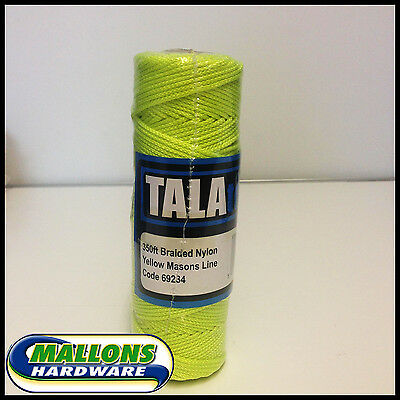 Tala 350ft Braided Nylon Yellow Masons Line Builders Bricklayers Line