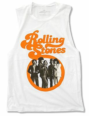 "Rolling Stones ""retro Stones"" Image Girls Juniors White Shirt New Official"