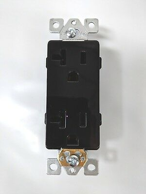 (10 pc) Decorator Duplex 20A Receptacles 20 Amp Outlets Black Self Grounding