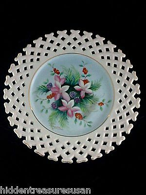 Reticulated Floral Plate Celebrate Handpainted Japan