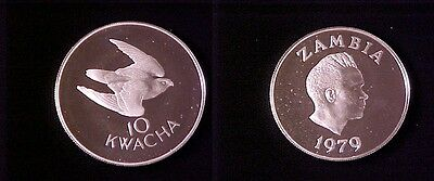1979 Zambia Large Proof Silver 10 Kwacha- Falcon