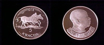 1978 Zambia Large Proof Silver  5 Kwacha- Zebra
