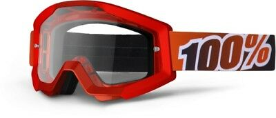 100 100 Motocross/Offroad Strata MX Goggles Fire Red/Clear Lens 50400-003-02