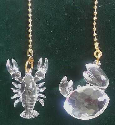 LOBSTER & CRAB ACRYLIC CEILING FAN PULLS CHAIN PULLS LIGHT PULLS SET OF 2