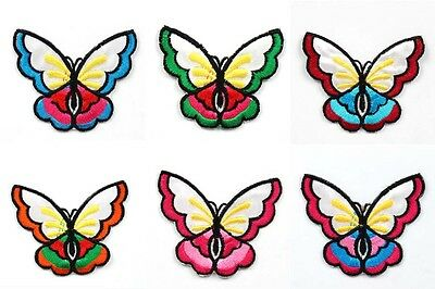 6pcs Butterfly Embroidered Iron/Sew ON Patch Kids Cloth Sew Applique Free Ship