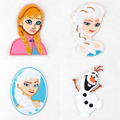 New Hot 4pcs Frozen Fabric Embroidered Iron/Sew On Patch for Clothes PA105