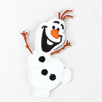 "New Hot 1pcs Frozen Olaf Fabric Embroidered Iron/Sew On Patch for kids 2""X4"""