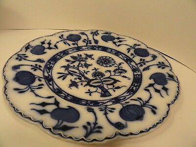 Antique Flow Blue Plate Holland Johnson Bros England Blue Onion AS IS