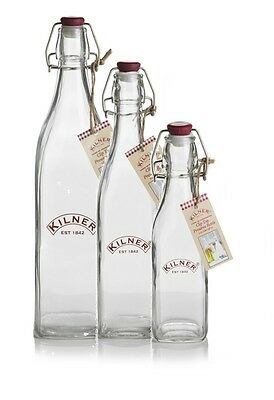 3 x Kilner Clip Top Preserve Bottle Different Sizes Available Juice Honey Water