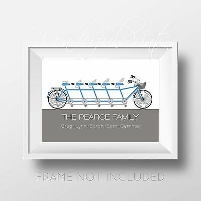 Personalised Family Name Tree Birthday Gift Bike Cyclist Print New Home House