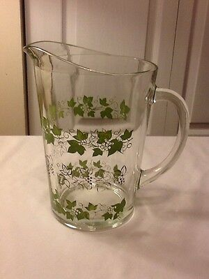 Vintage Grapes And Vines Heavy Thick Glass Pitcher