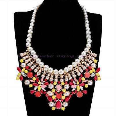 Fashion Pearl Chain Colorful Resin White Crystal Choker Statement Bib Necklace