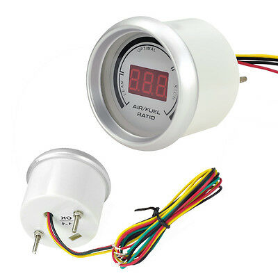 "New White CAR 2"" 52mm Digital Analog LED Air/Fuel Ratio Monitor Racing Gauge AU"
