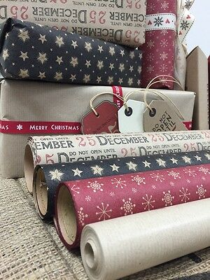 East of India 3m/8m Roll Vintage Christmas Brown Paper Wrapping Recycled