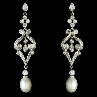 MARQUISE Vintage White Gold Plated Bridal Pearl Cubic Zirconia Drop Earrings