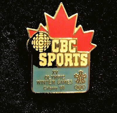 CALGARY 1988 15th Win Olympic Games CBC Sports Maple Leaf  Media pin  Very Rare