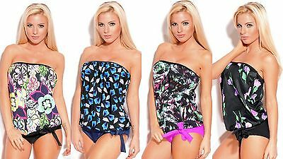 a095dad82f 2 Piece Women s Floral Strapless Bandeau Blouson Tankini Swimsuit Made in  U.S.A.