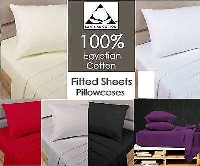 100% Egyptian Cotton Fitted Sheets Single 4Ft Small Double King Super King Size