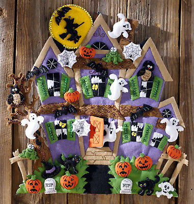 Bucilla Haunted House ~ Felt Halloween Wall Hanging Kit #86560 Witch Ghosts Bats