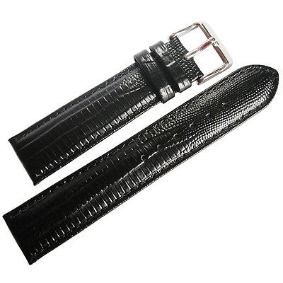 18mm deBeer Mens Black Teju Lizard-Grain Leather Watch Band Strap