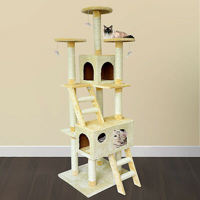 """New 73"""" Cat Tree Scratcher Play House Condo Furniture Toy Bed Post Pet Beige"""