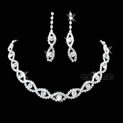 Bridal Wedding Party Prom Jewelry Crystal Diamante Twisted Necklace Earring Set