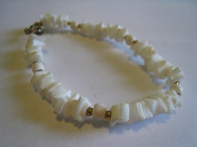 Vintage Bracelet With White Seashell Chips & Amber Glass Seed Bead Spacers
