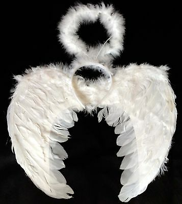 Feather White Angel Fairy Wings and Halo Halloween Fancy Dress Gothic