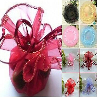 10 All Occasions Sheer Round Glitter Trim Organza Bags Wedding Favors Gifts 26cm