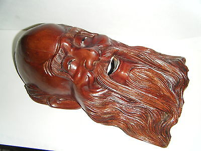"VTG 10"" LARGE CHINESE HAPPY LUCKY GOD WALL MASK ROSEWOOD & INLAY THEET AND EYES"