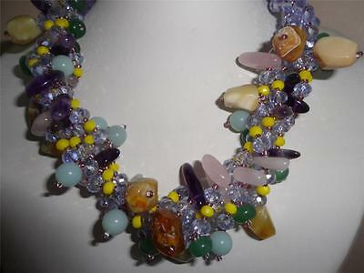 ASINGH EXCLUSIVE MULTI STRANDS DESIGN ~AMETHYST~YELLOW OPAL~AQUAMARINE NECKLACE