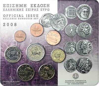 Griechenland 3,88 Euro 2008 Stgl. KMS 1 Cent bis 2 Euro im Blister