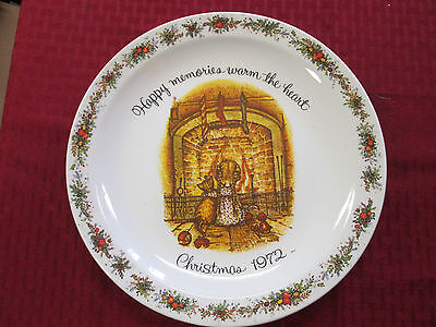 Holly Hobbie Commemorative Plate -  Happy Memories Warm the Heart Christmas 1972